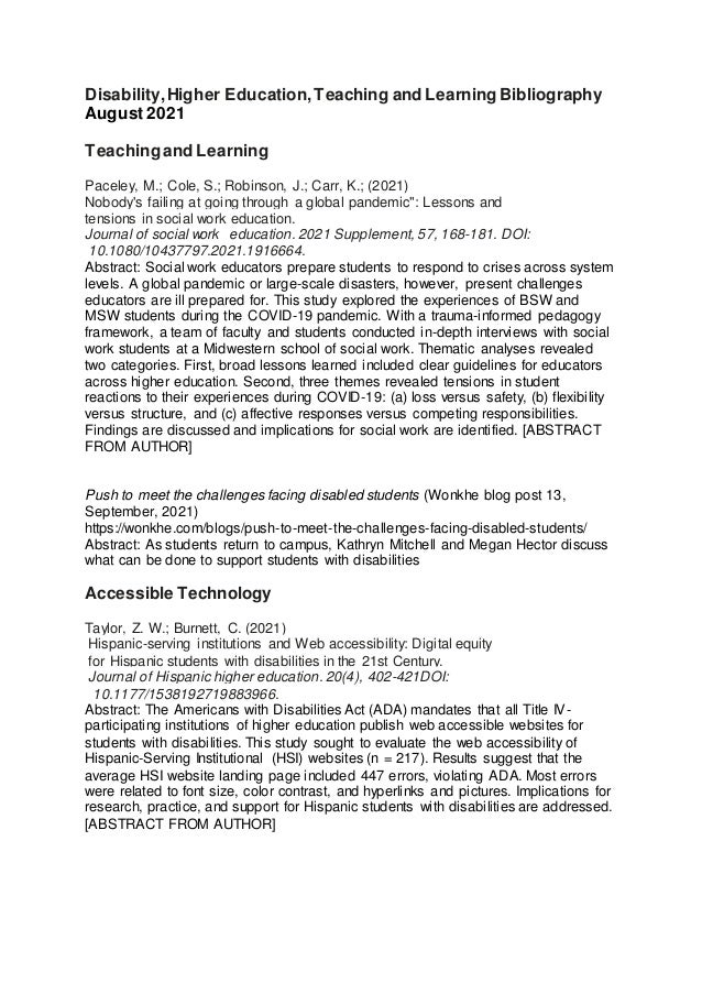 Disability,Higher Education,Teaching and Learning Bibliography August 2021 Teachingand Learning Paceley, M.; Cole, S.; Rob...