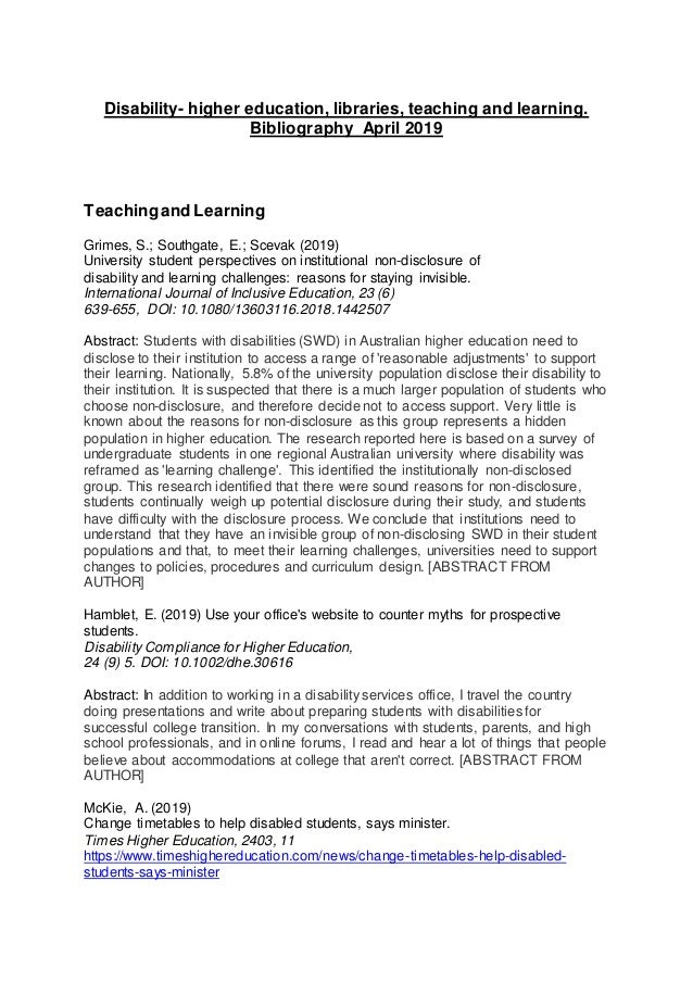 Disability- higher education, libraries, teaching and learning. Bibliography April 2019 Teachingand Learning Grimes, S.; S...