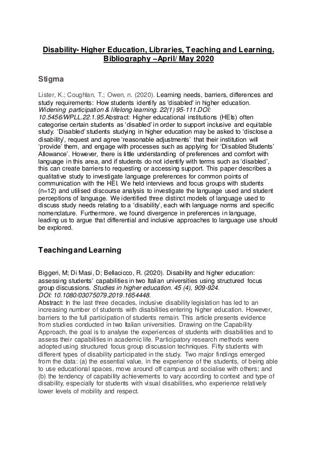 Disability- Higher Education, Libraries, Teaching and Learning. Bibliography –April/ May 2020 Stigma Lister, K.; Coughlan,...