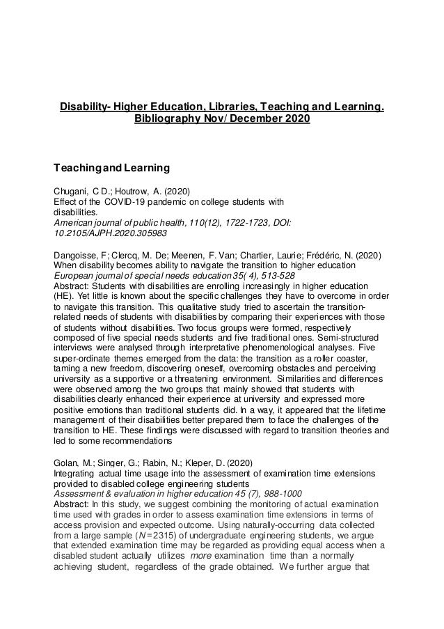 Disability- Higher Education, Libraries, Teaching and Learning. Bibliography Nov/ December 2020 Teachingand Learning Chuga...