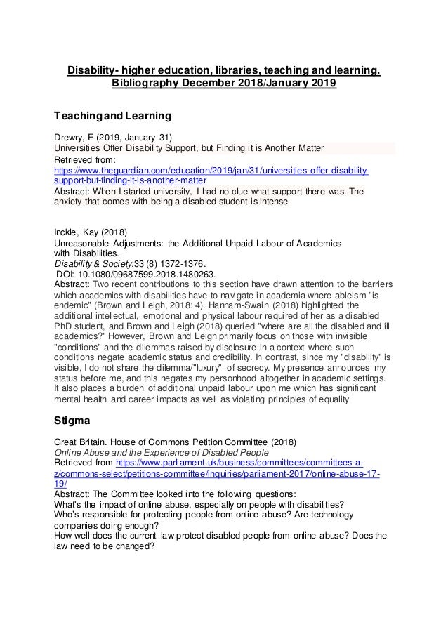 Disability- higher education, libraries, teaching and learning. Bibliography December 2018/January 2019 Teachingand Learni...