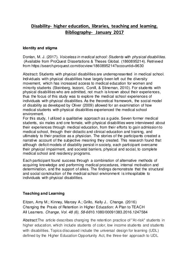 Disability- higher education, libraries, teaching and learning. Bibliography- January 2017 Identity and stigma Donlan, M. ...