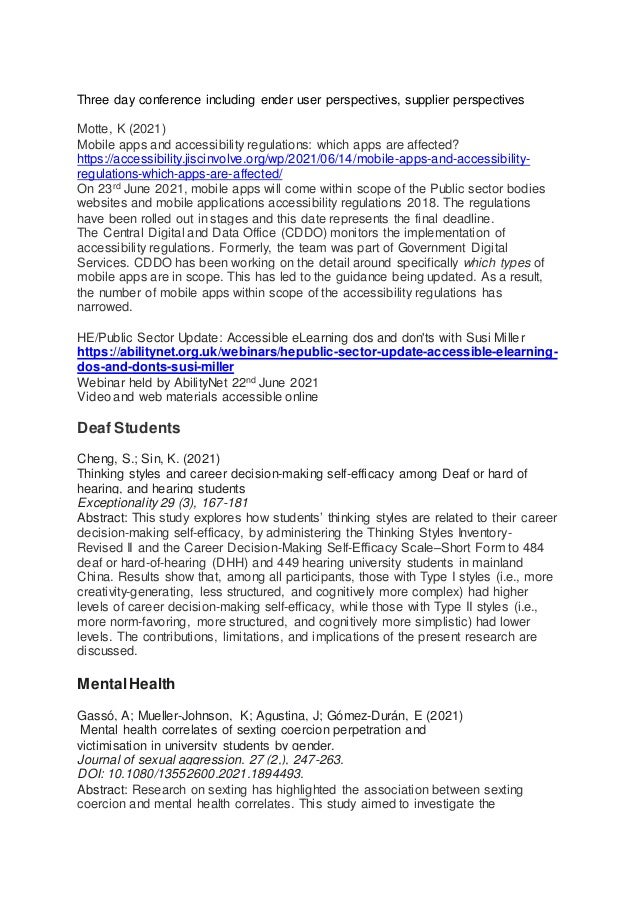Bibliography on Disability, Libraries,  higher education, teaching and learning for  June  2021 Slide 2
