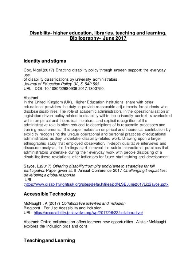 Disability- higher education, libraries, teaching and learning. Bibliography- June 2017 Identity and stigma Cox, Nigel.(20...