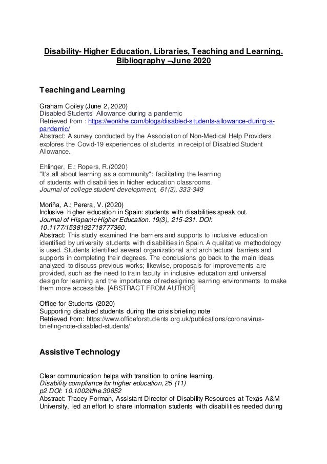 Disability- Higher Education, Libraries, Teaching and Learning. Bibliography –June 2020 Teachingand Learning Graham Coiley...