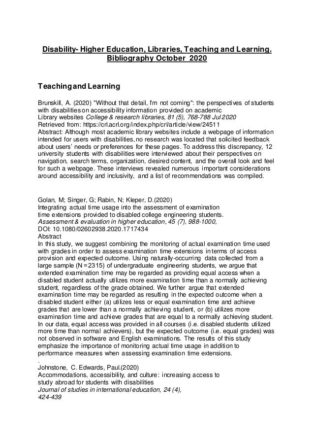 Disability- Higher Education, Libraries, Teaching and Learning. Bibliography October 2020 Teachingand Learning Brunskill, ...