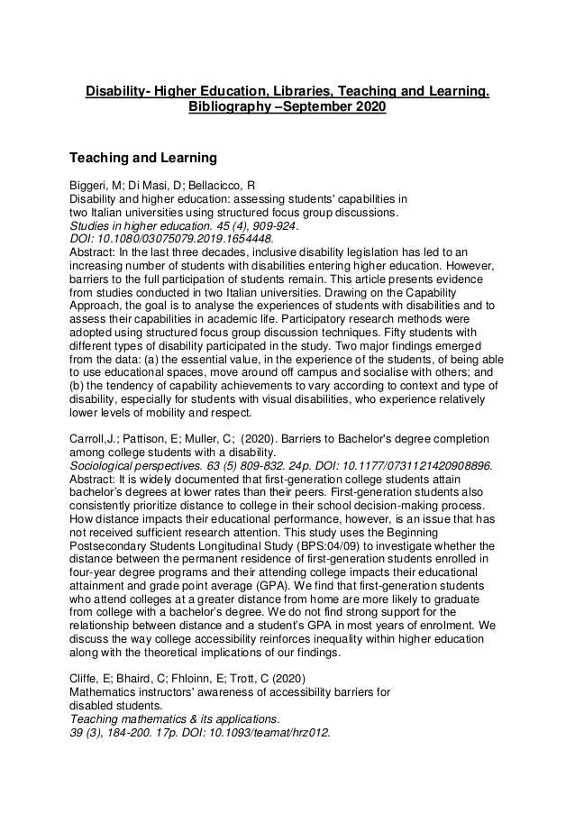 Disability- Higher Education, Libraries, Teaching and Learning. Bibliography –September 2020 Teaching and Learning Biggeri...
