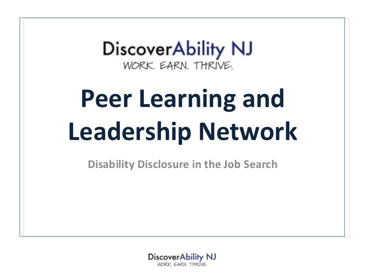 Peer Learning and Leadership Network Disability Disclosure in the Job Search
