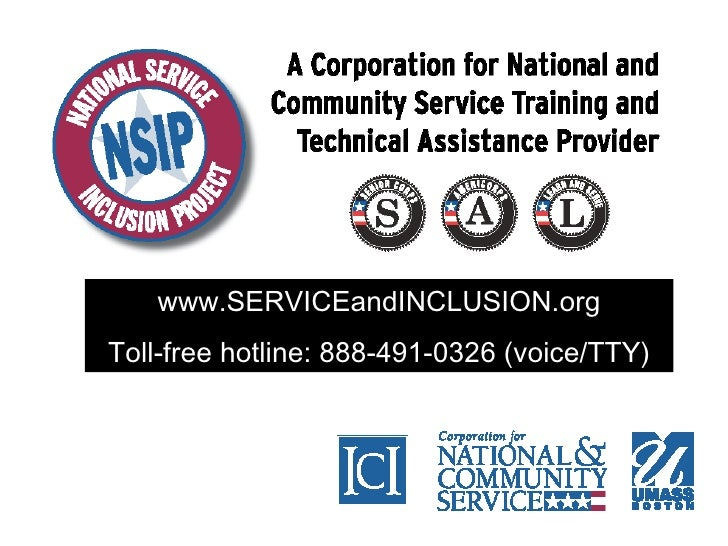 www.SERVICEandINCLUSION.org Toll-free hotline: 888-491-0326 (voice/TTY)