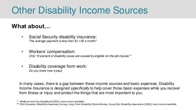 Other Disability Income Sources What about… • Social Security disability insurance: The average payment is less than $1,13...