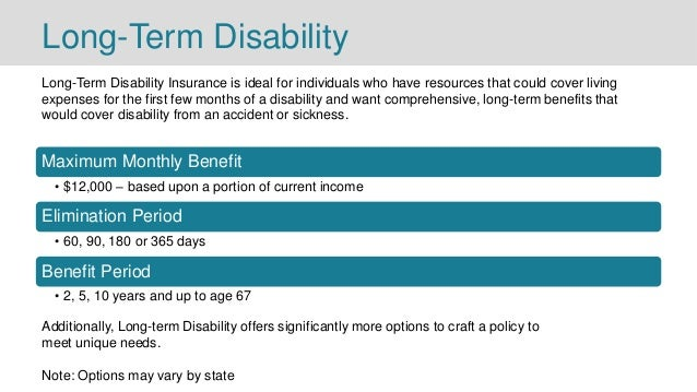 Long-Term Disability Long-Term Disability Insurance is ideal for individuals who have resources that could cover living ex...