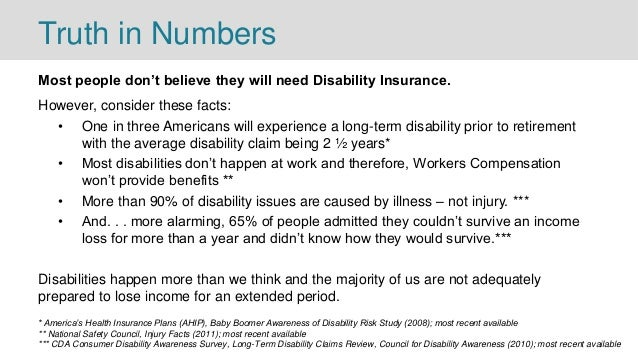 Truth in Numbers Most people don't believe they will need Disability Insurance. However, consider these facts: • One in th...