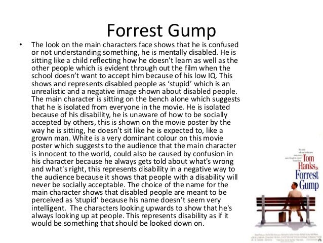 analysis of the movie forrest gump Analyse\tolkning av filmen forrest gump fra 1994 narrative analysis of forrest gump the main characters in the movie are forrest gump and jenny curran.