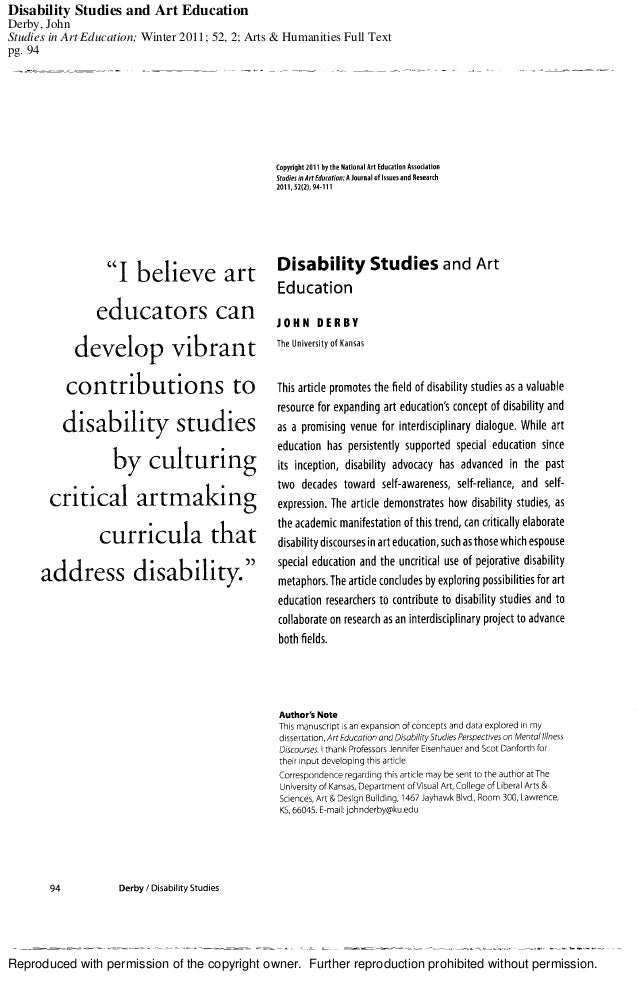Reproduced with permission of the copyright owner. Further reproduction prohibited without permission. Disability Studies ...