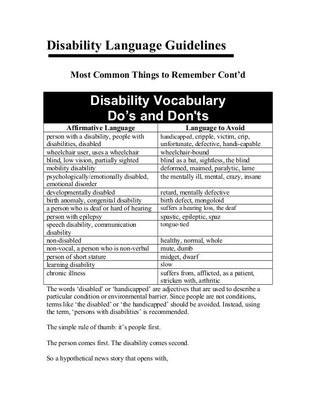 Disability Language GuidelinesMost Common Things to Remember Cont'dDisability VocabularyDo's and DontsAffirmative Language...
