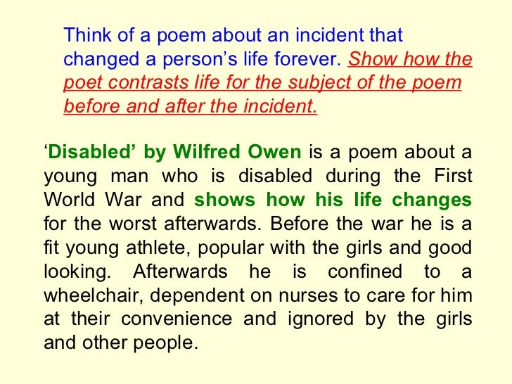 Disabled wilfred owen essay