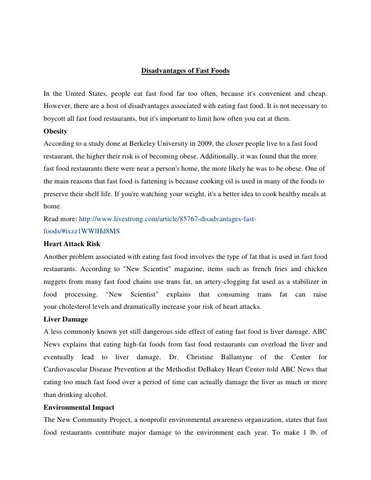 persuasive essay on not eating fast food The paper represents an argumentative essay on fast food as it contains  of fast  food industry and the consequences of regular eating of junk food for the  you  do not need to be an expert to see that most of the fast-food.