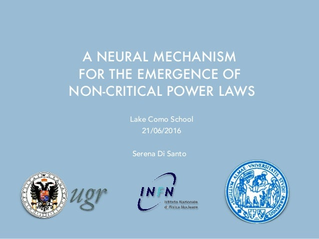 A NEURAL MECHANISM FOR THE EMERGENCE OF NON-CRITICAL POWER LAWS Serena Di Santo 21/06/2016 Lake Como School