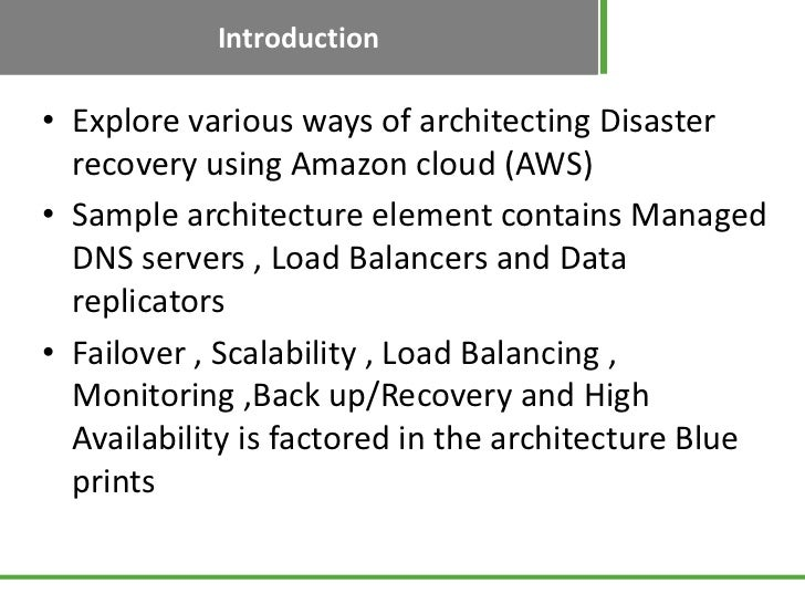 Disaster recovery using aws architecture blueprints malvernweather Choice Image
