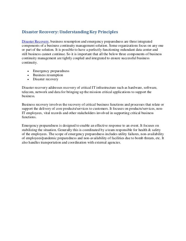 Disaster Recovery: Understanding Key PrinciplesDisaster Recovery, business resumption and emergency preparedness are three...