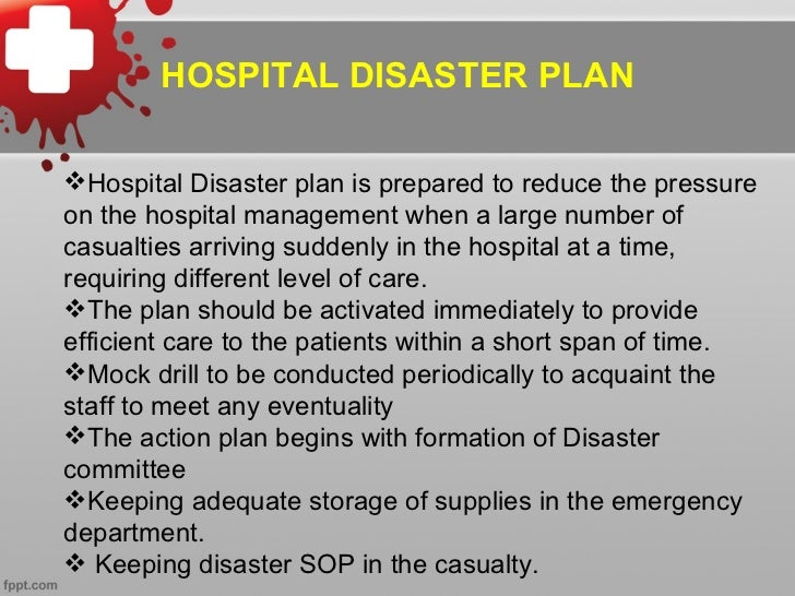 Disaster response plan hospital, tabletop exercise scenarios