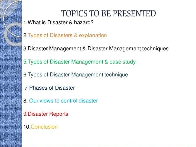 International Management Of Disaster