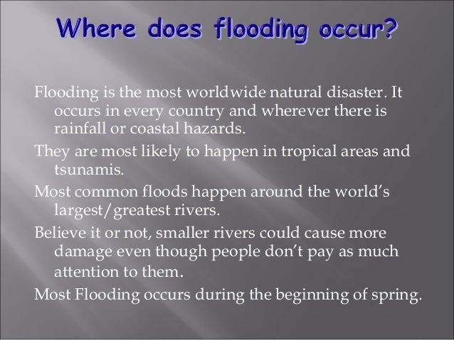 Flash floods happen in a short time, they have a great volume of water, and are local floods. The runoff of intense rain r...