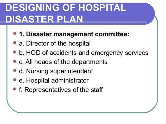 hospital disaster plan Table 2 activities included in hospital emergency action plans 7 viii naph emergency preparedness in public hospitals mental health response plan.