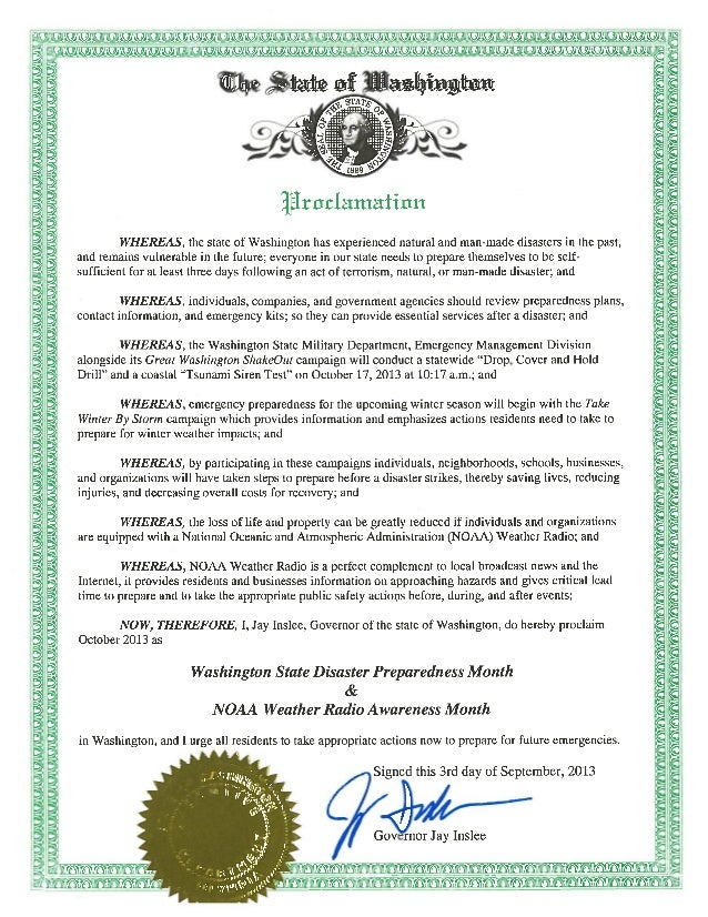 Disaster Preparedness Month Proclamation