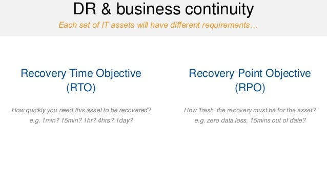 Each set of IT assets will have different requirements…  DR & business continuity  Recovery Time Objective (RTO)  How quic...