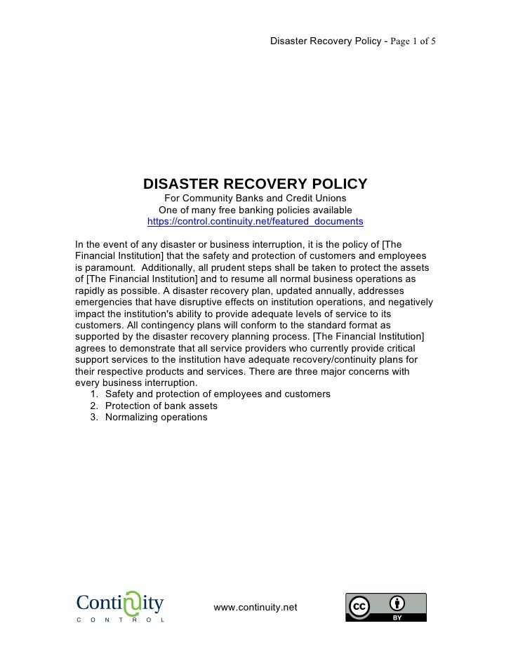 Disaster Recovery Policy - Page 1 of 5                    DISASTER RECOVERY POLICY                     For Community Banks...