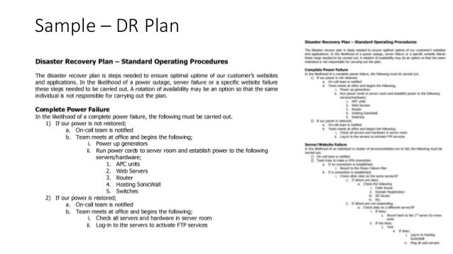 Sample U2013 DR Plan ...