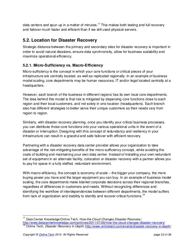Disaster Recovery Whitepaper - Cloud disaster recovery plan template