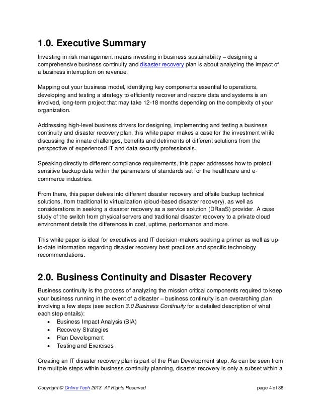 disaster recovery plan term paper Question description write a 700- to 1,050-word paper answering the following questions: please no plagiarism, i would like to turn paper is as received what is the purpose of a disaster recovery plan (drp) what is the difference between a drp and business continuity planning what are the key elements of a drp what are the five methods of testing a drp.