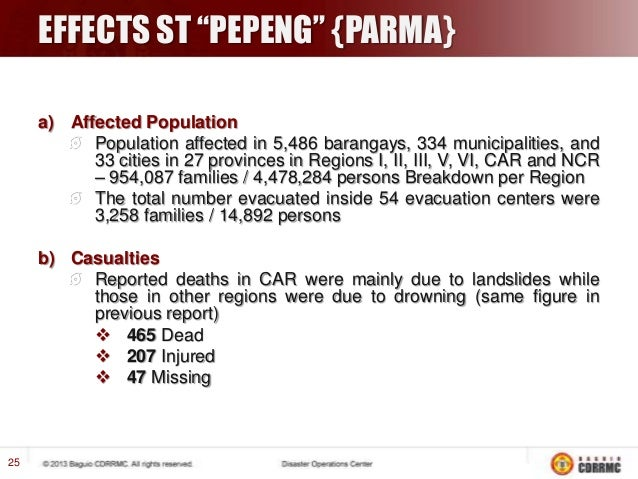 """EFFECTS ST """"PEPENG"""" {PARMA}  …Continued  c) Damages The total number of damaged houses were 61,869 (6,807 totally / 55,062..."""