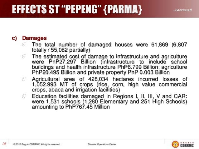 """EFFECTS ST """"PEPENG"""" {PARMA} INCIDENTS  …Continued  TOTAL  ERODED RIPRAP FALLEN TREE / IN DANGER OF FALLING  19  SOIL EROSI..."""