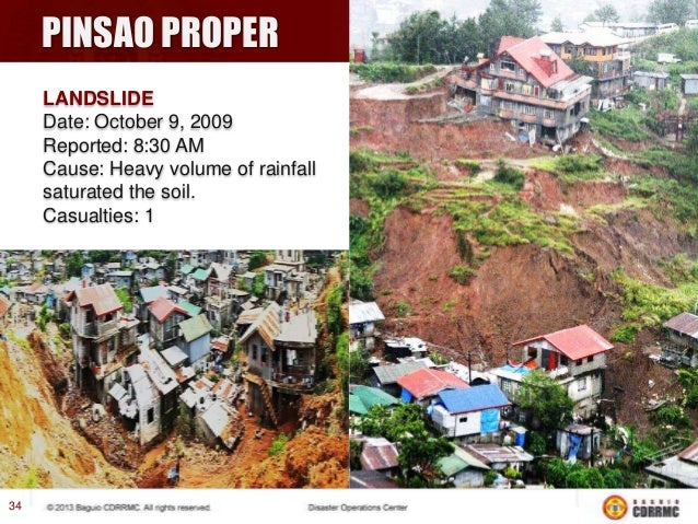 ↓ KITMA LANDSLIDE Date: October 9, 2009 Reported: 9:56 AM Cause: Heavy volume of rainfall saturated the soil. Casualties: ...