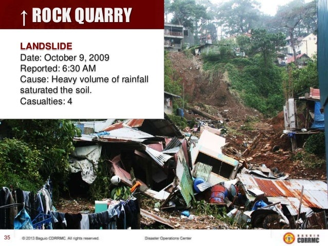 PUROK 1, IRISAN LANDSLIDE Date: October 9, 2009 Cause: Heavy volume of rainfall saturated the soil. Casualties: 16  37