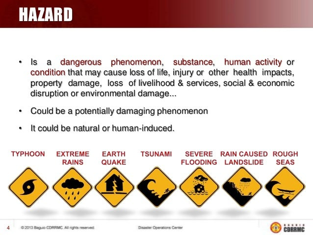 HAZARD • Is a dangerous phenomenon, substance, human activity or condition that may cause loss of life, injury or other he...