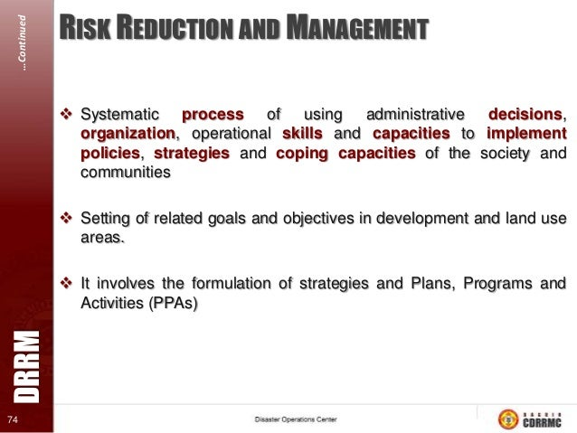 …Continued  RISK REDUCTION METHOD In the following order 1. Identify, characterize, and assess threats 2. Assess the vulne...