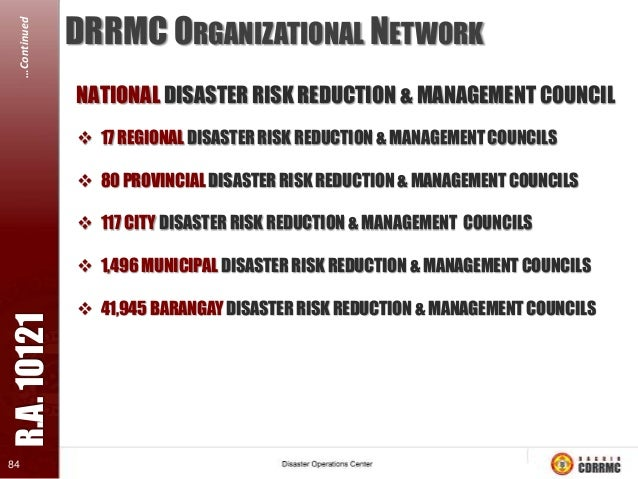 R.A. 10121  …Continued  The enactment of the Philippine Disaster Risk Reduction and Management Act of 2010 (also known as ...