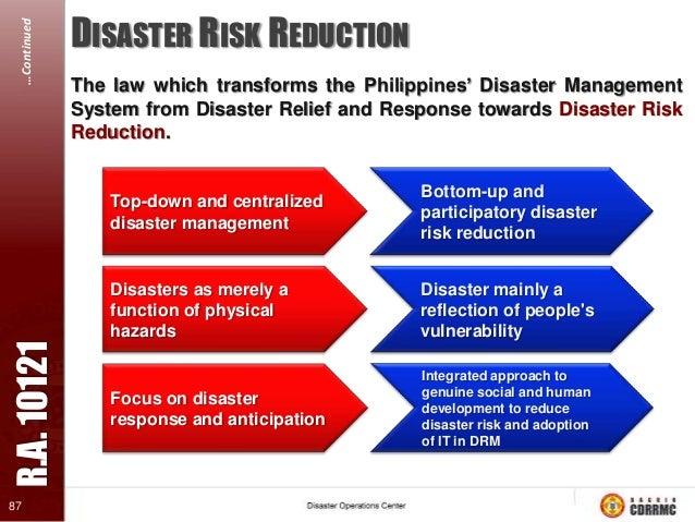 …Continued  PARADIGM SHIFT National Disaster Risk Reduction & Management Framework EMERGENCY MANAGEMENT  DISASTER RISK MAN...