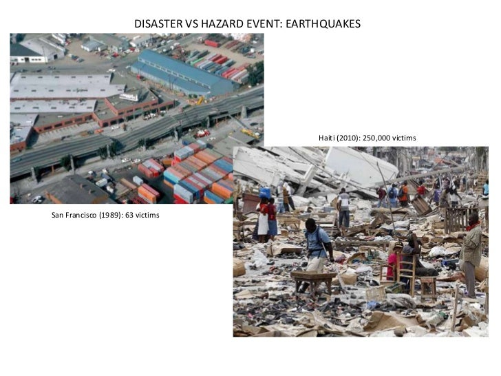 DISASTER VS HAZARD EVENT: EARTHQUAKES                                                      Haiti (2010): 250,000 victimsSa...