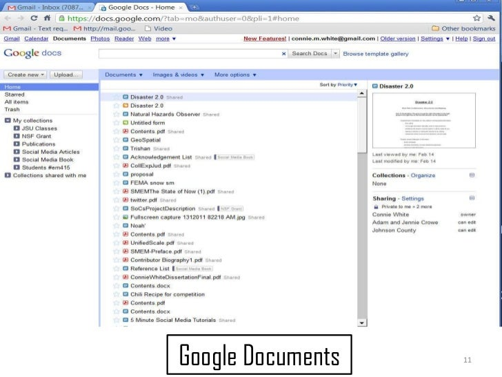 11<br />Google Documents<br />