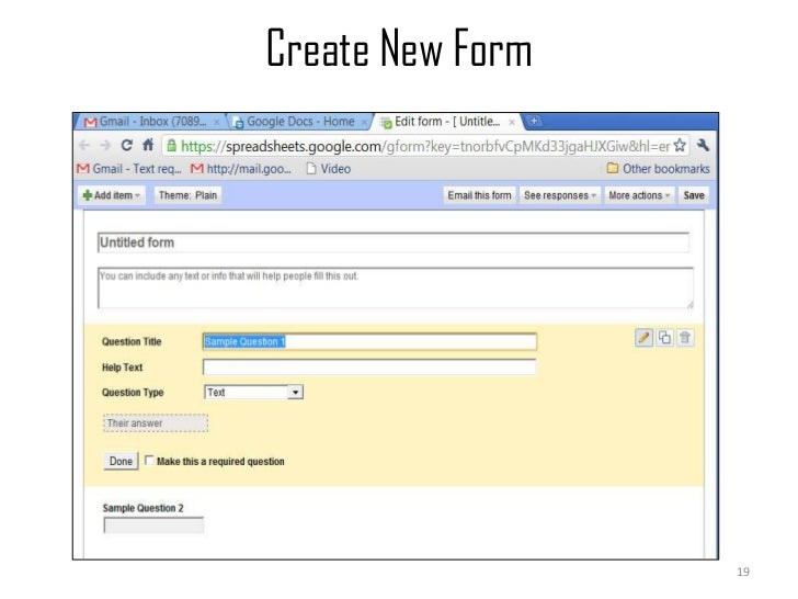 Create New Form<br />19<br />