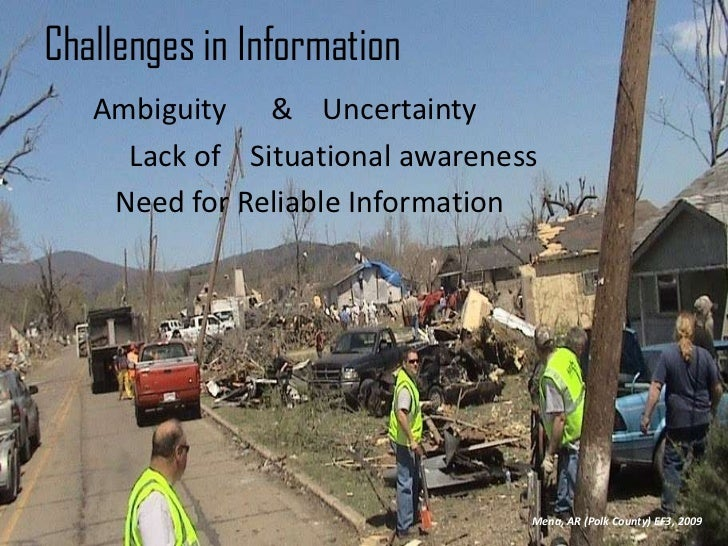 Challenges in Information<br />          Ambiguity      &    Uncertainty<br />               Lack of    Situational awaren...