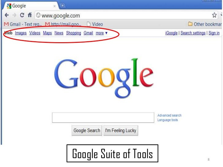 8<br />Google Suite of Tools<br />