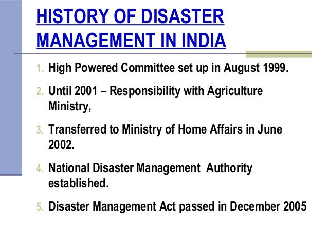 disaster management history Disaster management is linked with sustainable development, particularly in relation to vulnerable people such as those with disabilities, elderly people, children and other marginalised groups health volunteers overseas publications address some of the common misunderstandings about disaster management.