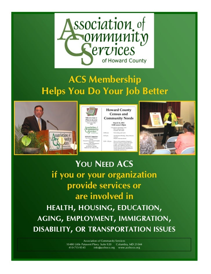 ACS Membership  Helps You Do Your Job Better            YOU NEED ACS     if you or your organization          provide serv...