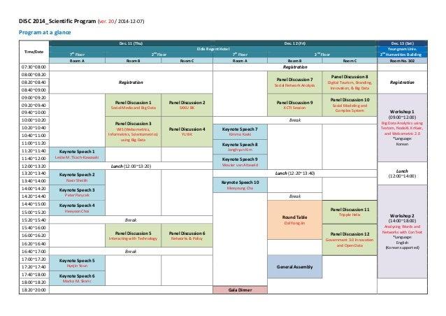 DISC 2014_Scientific Program (ver. 20 / 2014-12-07)  Program at a glance Time/Date Dec. 11 (Thu) Dec. 12 (Fri) Dec. 13 (Sa...
